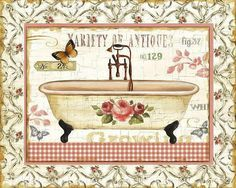Rose Garden III Canvas Print # by Lisa Audit Canvas Art Source by The post Rose Garden III Art Print by Lisa Audit appeared first on Alba's Soap Works. Decoupage Vintage, Decoupage Paper, Shabby, Bathroom Art, Bathroom Vintage, Victorian Bathroom, Bathrooms, Decoupage Printables, Canvas Art