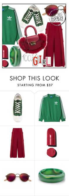 """Red and green"" by tiraboschi-b ❤ liked on Polyvore featuring Golden Goose, adidas Originals, Emporio Armani, Chanel, Ray-Ban, Palm Beach Jewelry and SALAR"