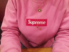 """(Cold) Pink """"Supreme"""" Sweatshirt with Gold Jewelry"""