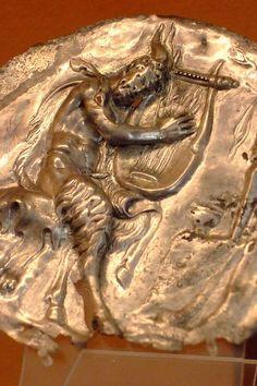 Satyr on gold roundel Roman 1st century CE