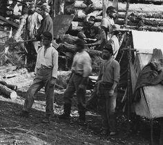 Union soldiers building winter quarters