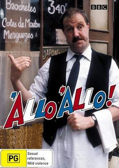 """'Allo 'Allo (Hello Hello) is hilarious. Poor Rene, he tries to juggle his time between running a cafe, helping the french resistance, keeping a valuable painting for the german officers, and keeping his """"secret"""" affairs from his wife Edith. Classic Comedies, Bbc Tv, British Comedy, Old Shows, Comedy Tv, First Tv, Television Program, Great Tv Shows, Classic Tv"""