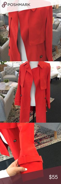 TOPSHOP Red Trench Coat Perfect red and great amount of thickness to layer. Brand new with tags. Great with a dress under or skinnies. Topshop Jackets & Coats Trench Coats