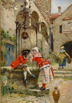 "♥ ""Courting at the Well"" → Edouard Toudouze."