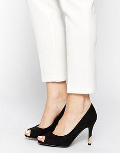 New Look Trending Black Peep Toe Gold Heel Shoes