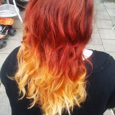 for red orange ombre hair picture gallery of red orange ombre hair Messy Hairstyles, Pretty Hairstyles, Hairstyle Ideas, Fire Ombre Hair, Flame Hair, Pelo Multicolor, Pixie, Curly Hair Styles, Natural Hair Styles