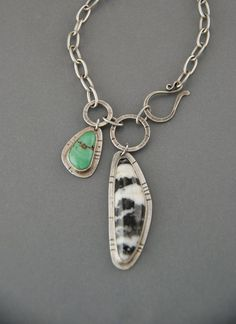 Asymmetrical Zebra Stone Necklace with Turquoise by MaggieJs