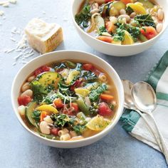 Summer Minestrone Soup | Have a bowl tonight, and preserve the season's freshest product by freezing a batch for later. | Cooking Light