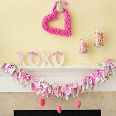 Ragamuffin Garland - crafted from strips of fabric, ribbon, and fringe, all tied to a single ribbon