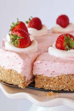 Easy No Bake Strawberry Cheesecake | Practically Homemade Strawberry Cheesecake Recipe Easy, Fresh Strawberry Desserts, Jelly Cheesecake, Best Cheesecake, Strawberry Puree, Easy Cheesecake Recipes, Pumpkin Cheesecake, No Bake Desserts, Easy Desserts