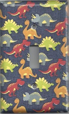 Small Multi Color Dinosaurs Boys Room Light Switchplates & Outlet Covers New light switch plates and Boys Dinosaur Bedroom, Dinosaur Nursery, Boys Bedroom Furniture, Boys Bedroom Decor, Modern Furniture, Bedroom Ideas, Outdoor Furniture, Baby Bedroom, Bedroom Themes