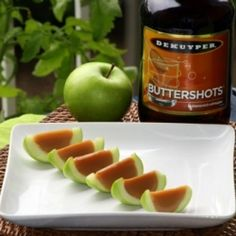 With a healthy twist, carmel apple jello shots with real apples :)