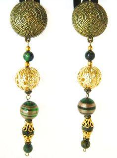 "Boho Chic Dangle Long Statement Earrings Green Glass Beads Clip On 4.5"" #DropDangle"