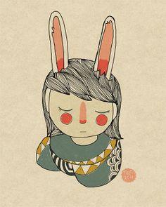 Bunny   8 x 10 Illustration Print by NanLawson on Etsy, $16.00