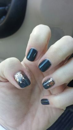 My new fave - CND Shellac in Asphalt with rose gold additives!