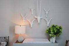 Helena Glazer (of Brooklyn Blonde) used white animal horns for her son's nursery. Click for more pictures inside her Brooklyn home.