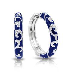 Royale Hoops Blue Earrings by Belle Etoile. Fashion Jewelry. Blue Earrings. Enamel Earrings.