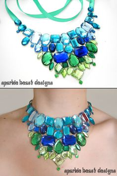 Variegating Blue and Green Rhinestone Statement Necklace by Sparkle Beast Designs