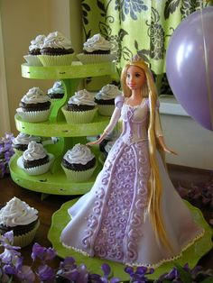Rapunzel Cake - I guess using the kit from Hobby Lobby for cake skirt.... and i like the cupcake option too....