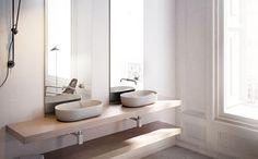 Lavabo Toulouse oval, de porcelana sobre encimera, sin rebosadero y sin opción de ir en pared. Toulouse, Vanity, Bathroom, Inspiration, Modern Bathrooms, Counter Tops, Verandas, Houses, Porcelain