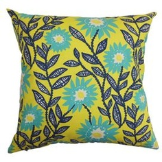 Cotton pillow showcasing a flowing floral motif.   Product: PillowConstruction Material: Cotton cover and 95/5 down fillColor: MultiFeatures:  Insert includedHidden zipper closureMade in the USA Dimensions: 18 x 18Cleaning and Care: Spot clean