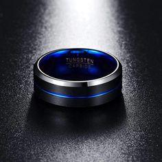 Stream Blue and Black Tungsten Carbide Ring Tungsten Carbide Rings, Matte Black, Jaco, Blue