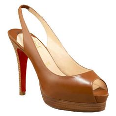 Christian Louboutin Peep Toe Leather Slingback Brown Red Bottom Shoes