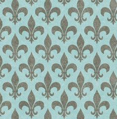 Teal and Gray Fleur De Lis Textured Fabric Background that is seamless and repeats