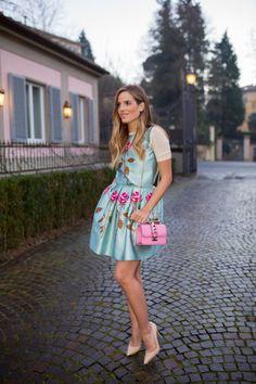 1.15 firenze4ever (Rochas rose printed 'duchesse' sweater & skirt + Gianvito Rossi pumps + Valentino bag) @ Luisaviaroma