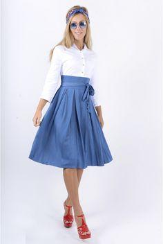 676bc49dd8954 Jupe en jean mi-longue vert bouteille - STYLO   Mode femme,Modest Fashion,  Tsniout fashion   Pinterest   Modest fashion and Fashion