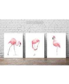 Pink Flamingo Set 3 Art Prints Flamingoes by ColorWatercolor