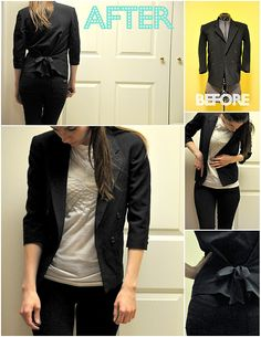 old men's suit jacket into a bow blazer, I've been looking for a black blazer, and this is much cheaper than just getting one already fit from a store.