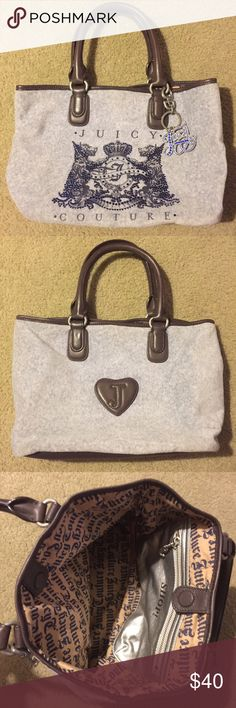 Juicy Couture Bag Soft gray fabric with dark brown leather details and royal blue crystal decor. Small/Medium Size. No damage, no stains. Juicy Couture Bags Totes