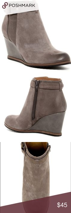 "NWOT Susina Wedge Booties Genuine Leather Grey/ Brown Booties. Buckle and side zip. Super lightweight!! 3"" Wedge. Shaft: 3.5"". Taupe color. Offers Welcome! Susina Shoes Ankle Boots & Booties"