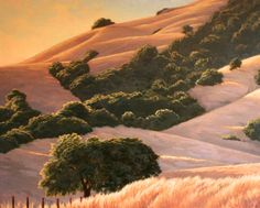 """Northern California Landscape Painting, """"Golden Hills and Oaks"""", Limited Edition Giclée Print, www.terrysauve.com"""