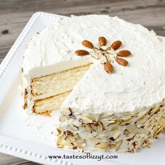 Light, moist and velvety, this Almond Cream Cake has a homemade cooked, whipped frosting that pairs perfectly with the almond cake. Top with sliced almonds.