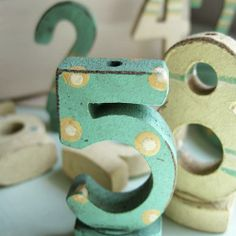 Vintage looking set of wooden number birthday candle holders What's Your Number, Number 5, Wooden Numbers, Letters And Numbers, Countdown To Extinction, Give Me Five, Display Ideas, Old And New, Shades Of Blue