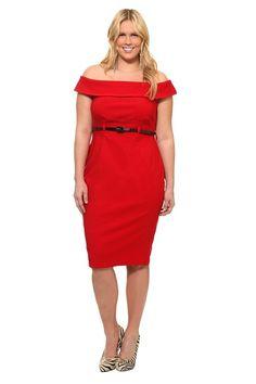 Retro Chic By Torrid - Red Off-Shoulder Belted Sheath Dress