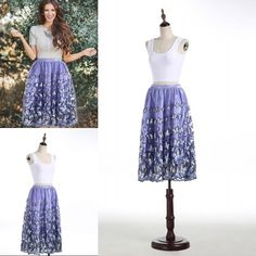 New Fashion Butterfly Style Skirts 2016 Summer Purple Tea Length Elastic Waist Skirt For Women Short Party Dresses Cheap From Sexypromdress, $34.18 | Dhgate.Com