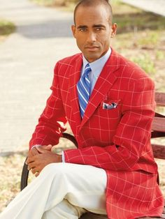 Blue linen and wool sport coat with red windowpane | Great ...