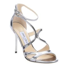 Jimmy Choo Silver mirrored leather 'Furrow' strappy stiletto sandals (€570) ❤ liked on Polyvore featuring shoes, sandals, heels, обувь, sapatos, silver, heeled sandals, strappy heel sandals, strappy sandals and silver sandals
