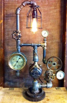 Steampunk furniture design ideas from cool to crazy. What do you think of Steampunk? What comes to mind is probably a cosplay girl in a leather corset and a circular skirt. The Steampunk furniture concep. Industrial Light Fixtures, Industrial Lighting, Vintage Lighting, Steampunk Design, Steampunk Lamp, Pipe Lighting, Cool Lighting, Basement Lighting, Lampe Tube