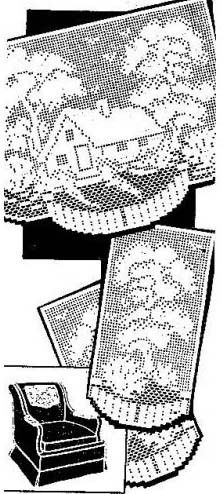 Vintage Filet Crochet Pattern Cozy Cottage Big Trees Chair Back Set