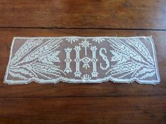 Antique religious IHS lace edging for altar cloth shrine antependium frontal, clergy vestment, French liturgical religious church fabric by MyFrenchAntiqueShop on Etsy