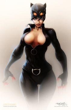Catwoman line art by Salomon Farias, colored by sixfrid.deviantart.com