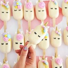 These are the cutest unicorn pops out! But @my_petite_sweets_perth are you sending out an SOS signal on your manicure? #Regram via @sweet_magazine