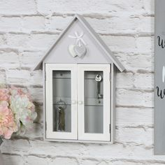 Grey Wall Mounted Wooden House Key Cabinet