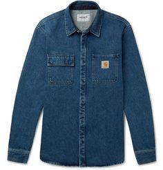 Carhartt Salinac Denim Shirt Jacket In Blue Plain Shirts, Cut Shirts, Button Up Shirts, Casual Shirts For Men, Men Casual, Denim Shirt Men, Carhartt Wip, Shirt Jacket, Work Wear