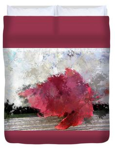 Abstract Bright Red Leaf Duvet Cover by Terry Davis