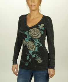 Take a look at the Liberty Wear Black Roses Long-Sleeve Tee - Women on #zulily today!